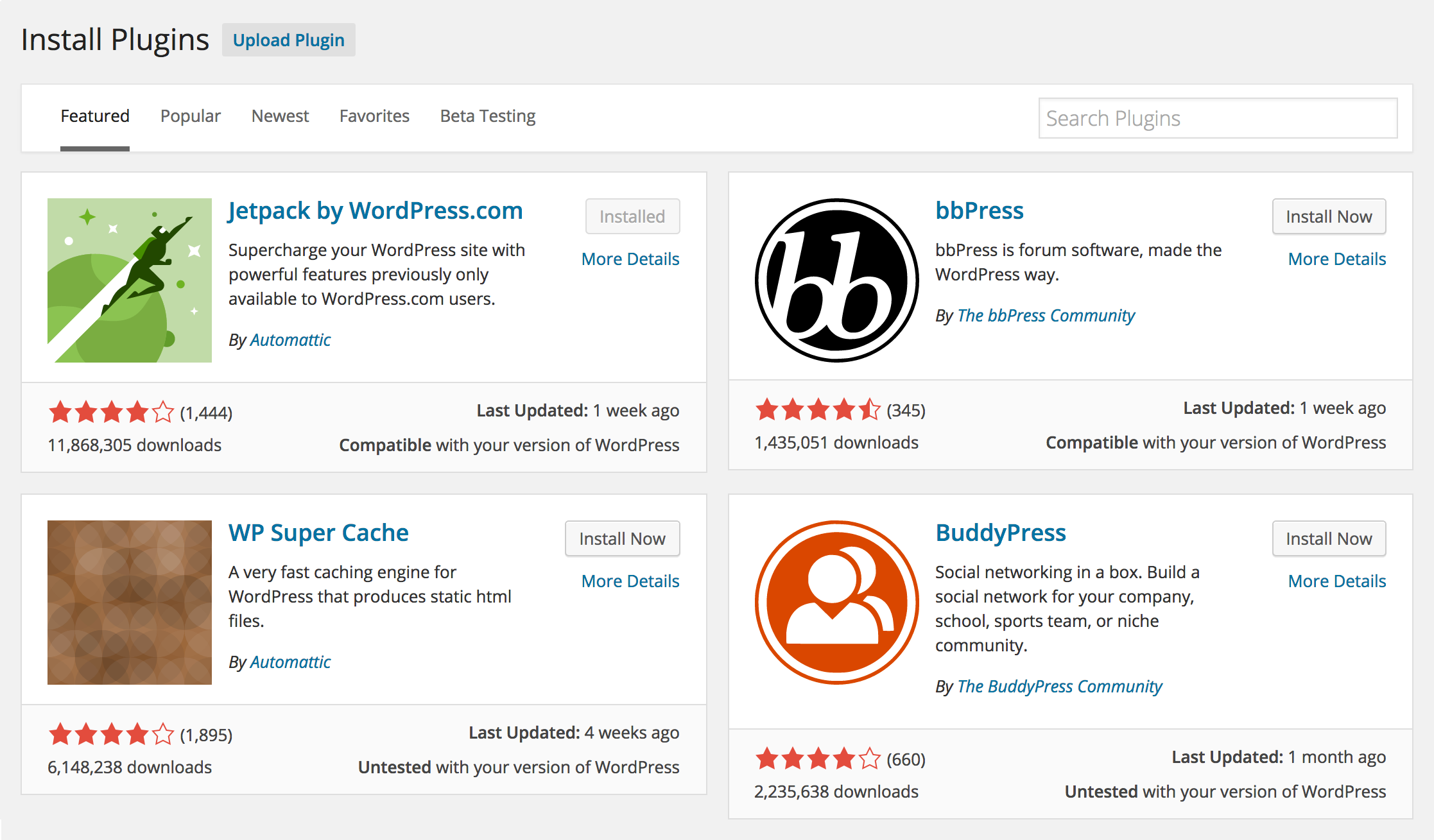 Busca facilitada de plugins no WordPress 4.0